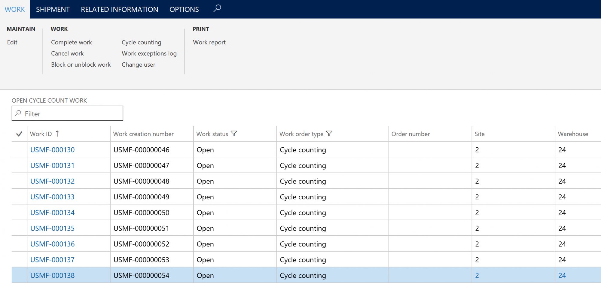 D365 Cycle Counting Work Screenshot