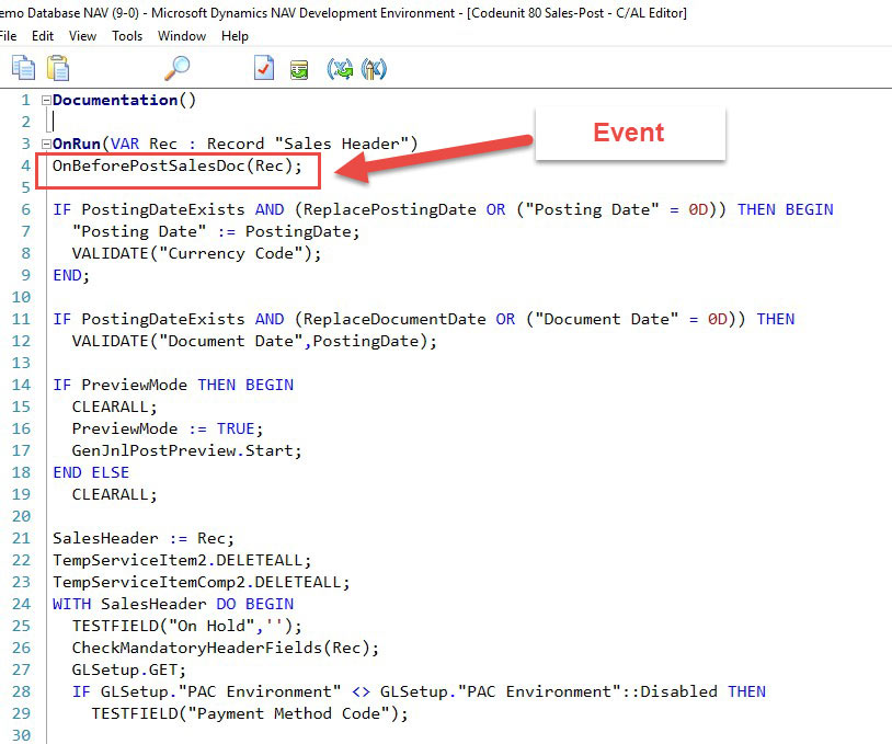 DNAV Development Environment Event Screenshot