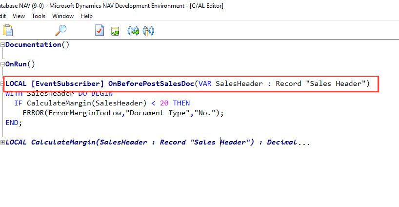 DNAV Development Environment Event Subscriber Screenshot