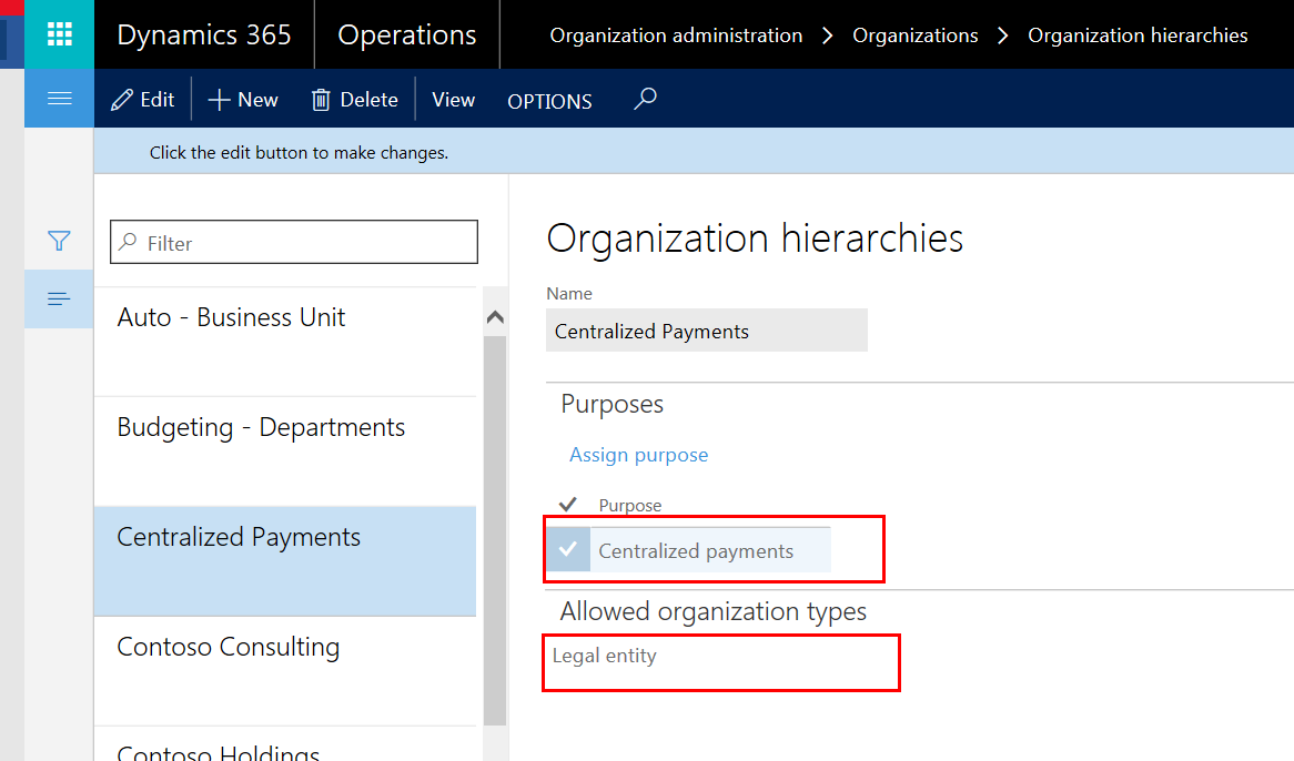 D365 Organization Hierarchies Screenshot