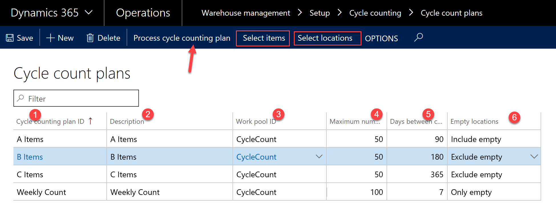 D365  Cycle count plans screenshot