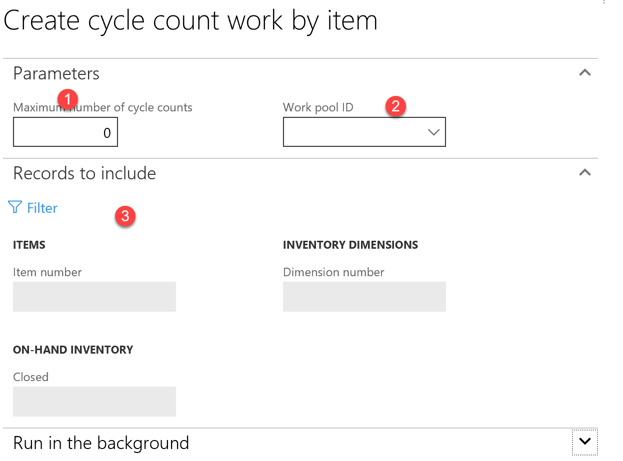 D365 Create Cycle Count Work By Item Screenshot
